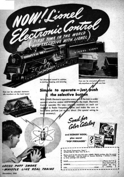 Advertisement for the Lionel Electronic Train Control System published in a magazine in 1946.
