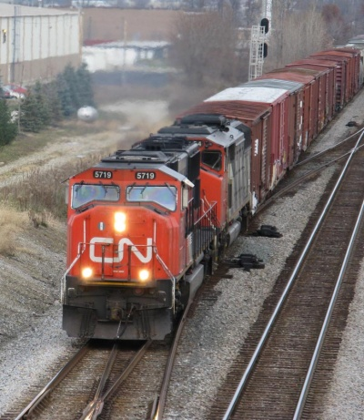 CN diesels with ditch lights in operation
