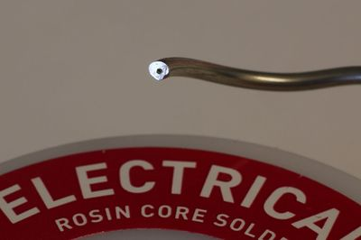 Flux core in solder wire.